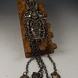 老银花卉宝瓶挂锁一套