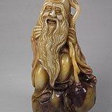 老浅色寿山石圆雕葫芦执仗仙翁大印章