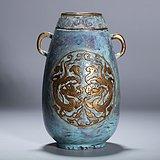 清晚期 古铜釉开光描金凸雕龙纹尊