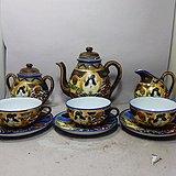 明治时期粉彩人物绘画茶具一套