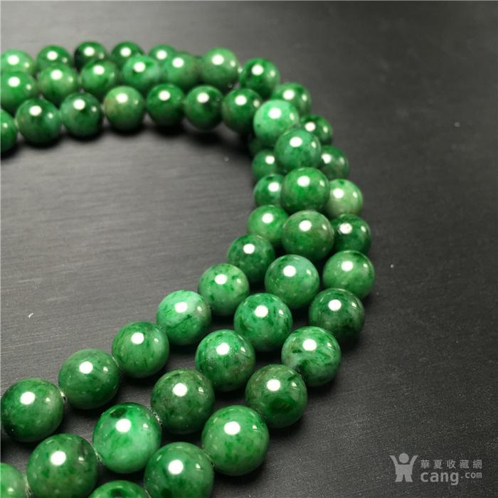玉泉文玩W49回流老库存豆种满绿翡翠圆珠项链