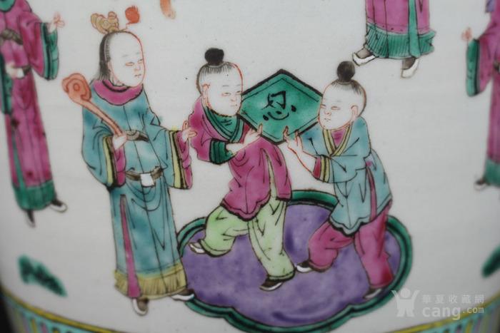 清晚期粉彩通景人物故事 百忍图 狮耳大瓶