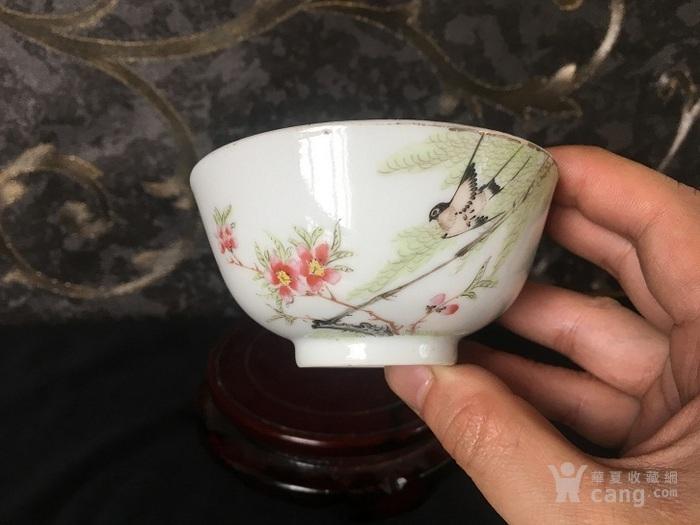 民国名家粉彩柳燕细路小茶碗