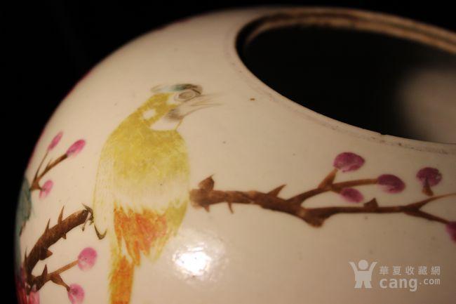 宣统二年 粉彩 花鸟南瓜罐