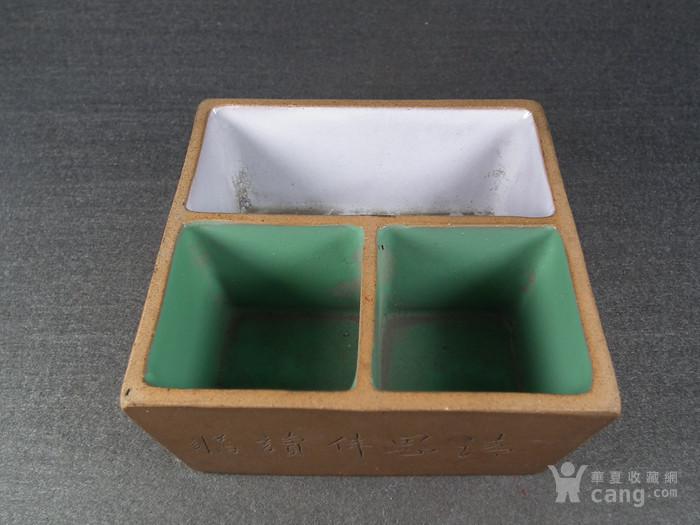 老黄泥紫砂兰花诗文方形小水仙盆图1