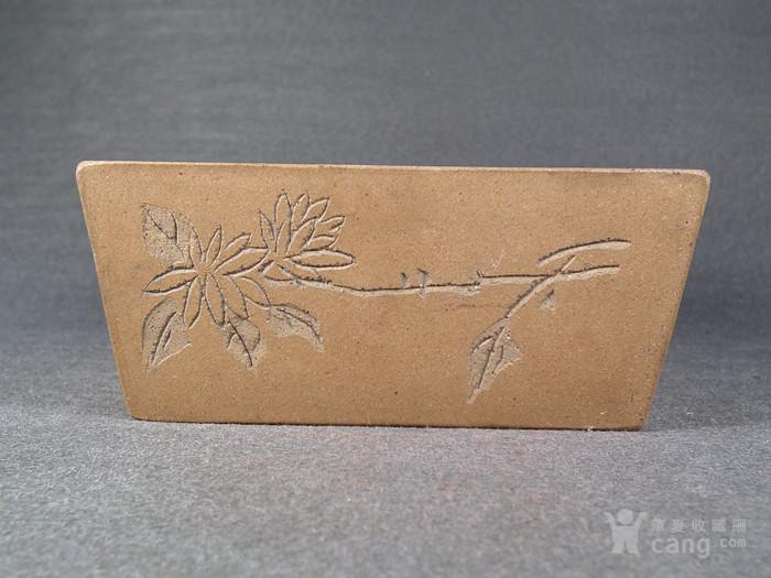 老黄泥紫砂兰花诗文方形小水仙盆图3