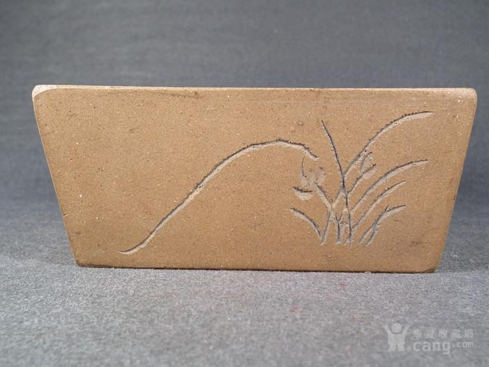 老黄泥紫砂兰花诗文方形小水仙盆图5