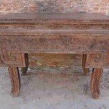 老檀木古董鼎桌供桌案子雕刻收藏别墅装修