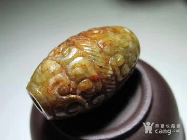清早期 和田玉黄籽 雕刻 如意头卷云纹图3
