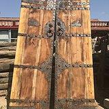 香柏木铁艺精致雕刻有动物结实厚重大门一对装修神器