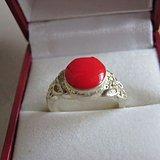 银镶珊瑚红戒指