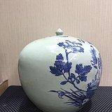 清晚期青花凤穿牡丹西瓜罐