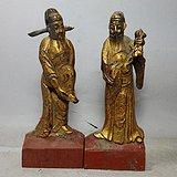 清代木鎏金人物雕像两个