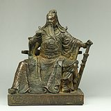早期收藏回流关公铜佛像