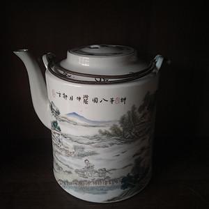 浅绛彩超大茶壶