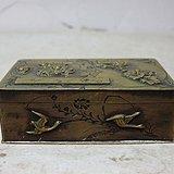清代铜制花鸟雕刻四方印盒