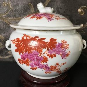 建国初期粉彩手绘花卉纹粥罐