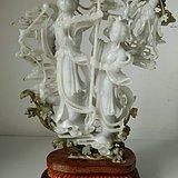 建国初 轻工部工艺美术社名家雕刻的翡翠雕仙女下凡故事摆件