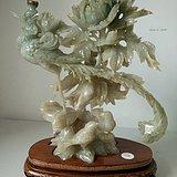 建国初期 轻工部美术社雕刻的凤穿牡丹整雕圆雕祥瑞摆件