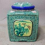 清代紫砂加彩四面开窗绘画茶叶罐