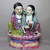 清代大号粉彩和合二仙人物塑像