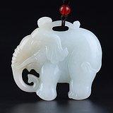 新疆和田玉白玉籽料苏工雕刻大象挂件吊坠颈饰太平有象