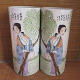 民国帽筒美人如玉一对 江西瓷业公司款 民国名家高茂兴作