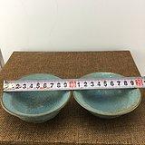 两个蓝釉素面瓷碗A1461