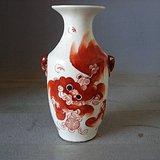 民国名家早期 1922年 红狮子全品尺瓶