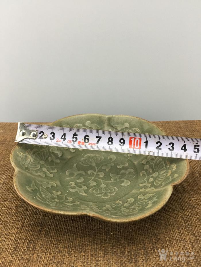 绿釉花卉瓷碗A4045图1