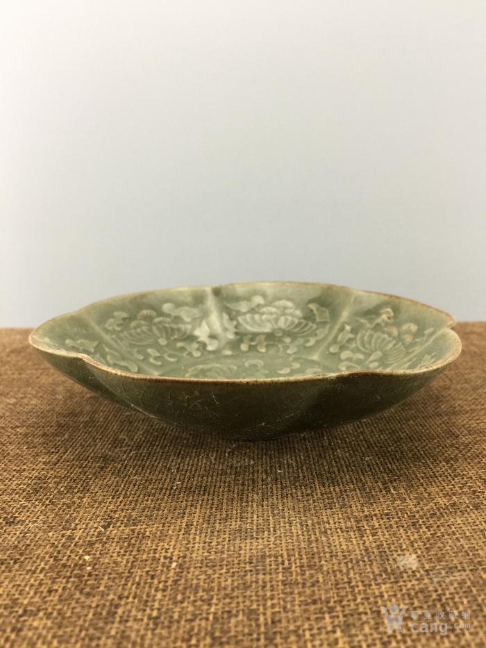 绿釉花卉瓷碗A4045图2