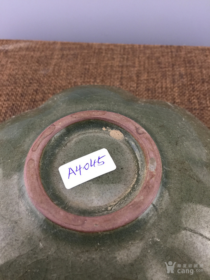 绿釉花卉瓷碗A4045图6