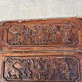 二块保存完好的雕刻精美神兽图按的老木雕