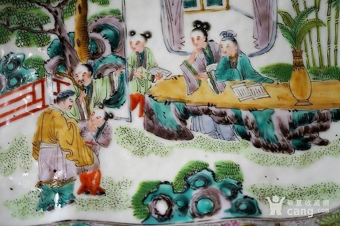 清代中后期广五彩龙纹四世同堂人物故事图腰果型赏盘
