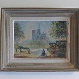 原創西洋老油畫巴黎聖母院風景