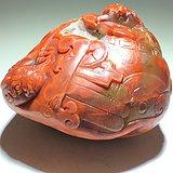 苏工 南红柿子红 府上有龙 摆件 工艺细致 雕刻生动