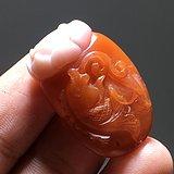 民国 正宗保山南红 柿子红 俏色巧雕 连年有余 挂件