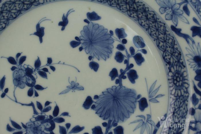 清雍正青花栏杆花鸟纹盘-图3