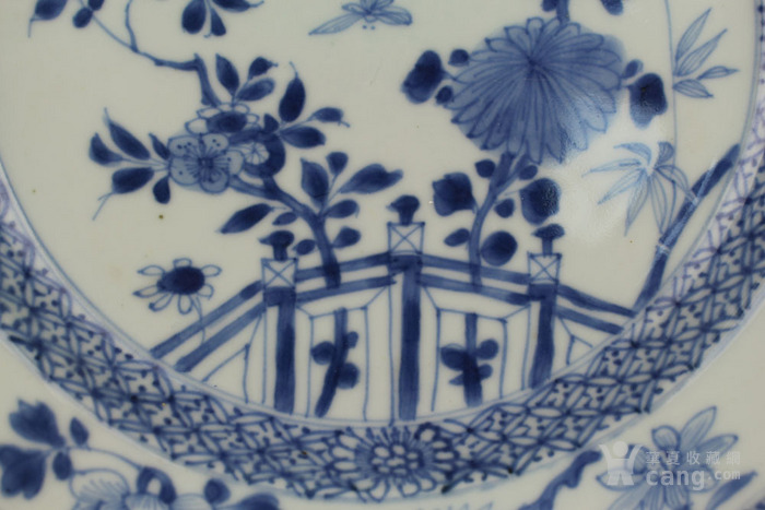 清雍正青花栏杆花鸟纹盘-图4