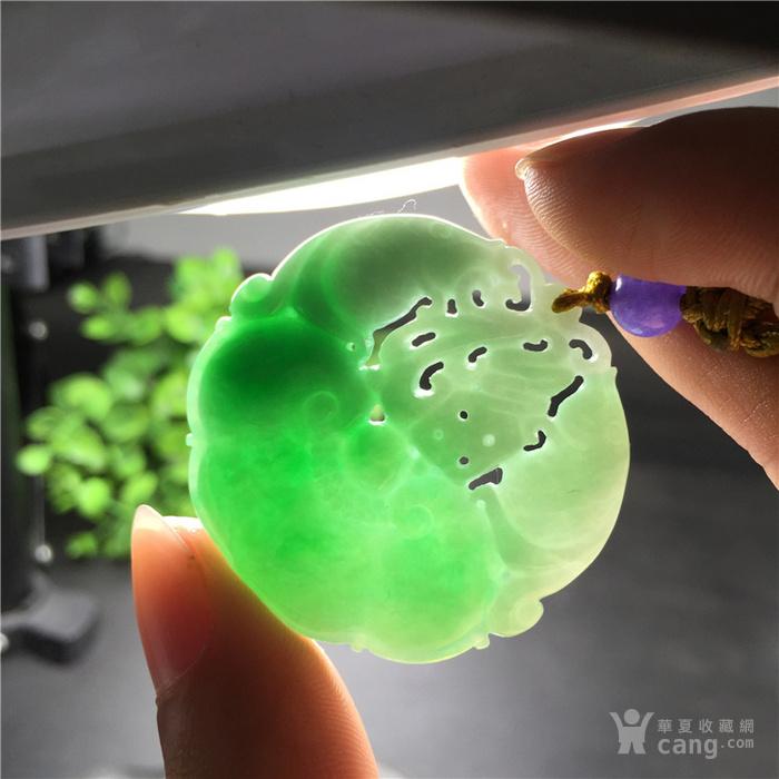 玉泉文玩W515创汇期糯冰种飘阳绿翡翠双鱼福至心灵圆佩