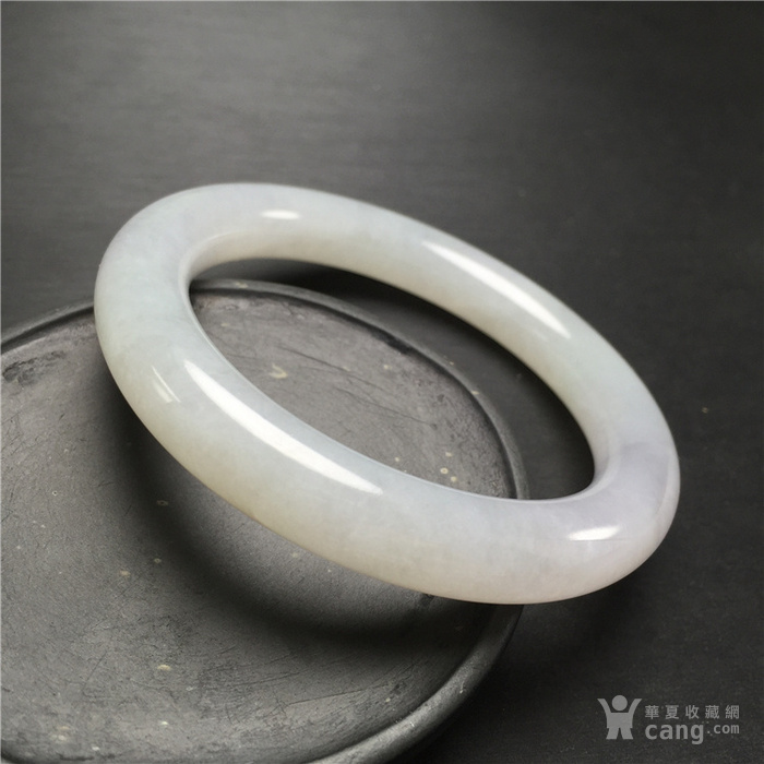 玉泉文玩W523创汇期糯冰种飘绿翡翠粗管圆条手镯