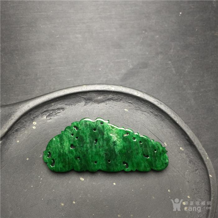 玉泉文玩W454创汇期豆种满绿翡翠凤鸟镶嵌件