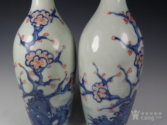 青花釉里红梅花纹柳叶瓶一对图片