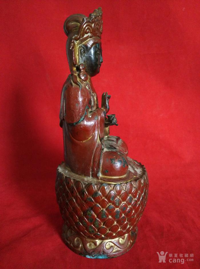 铜挂彩观音坐像图6