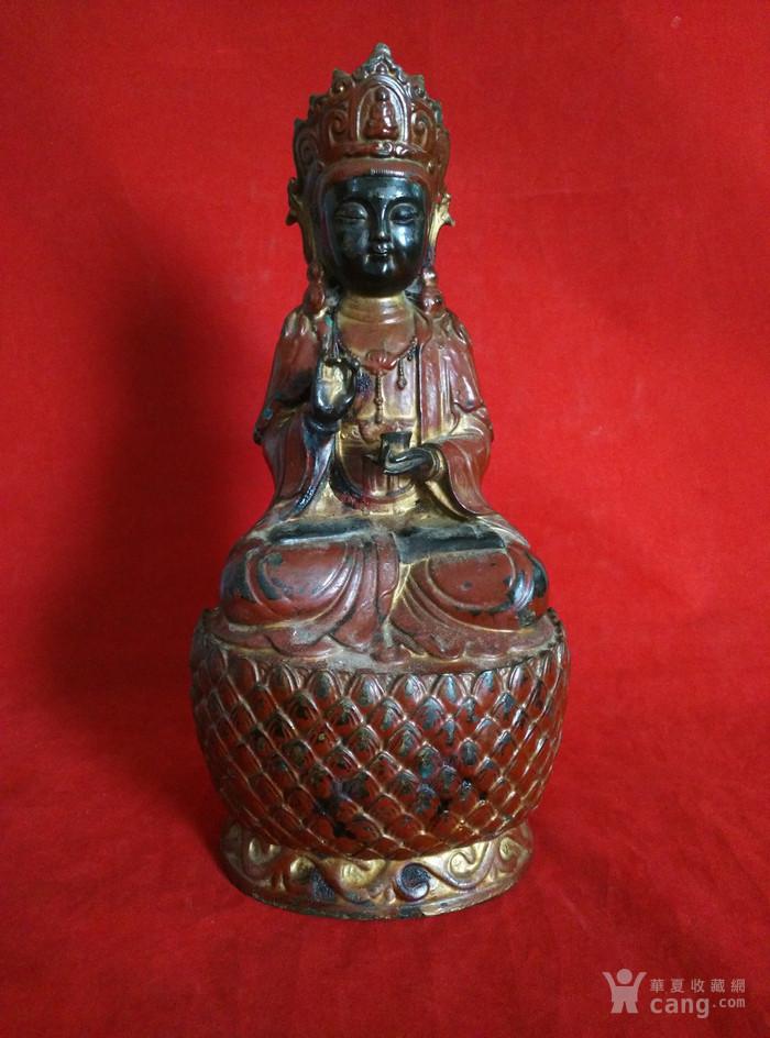 铜挂彩观音坐像图2