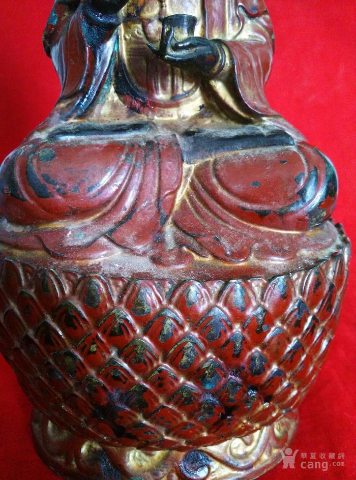 铜挂彩观音坐像图5