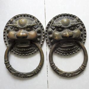 铜大门环一对 饕餮大门环