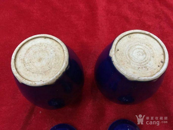 明 霁蓝釉罐子一对全美品高12.5cm 口径4cm