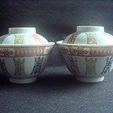 民国寿字纹盖碗二只。