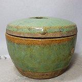 清代绿釉鼓钉盖罐